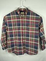 Vintage Eddie Bauer Mens Plaid Flannel Long Sleeve Button Up Shirt Size XL