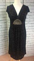Per Una Sleeveless Empire Line Dress Black Devore Beading Art Deco Size 14 BNWT
