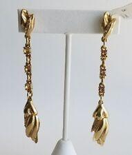 OSCAR DE LA RENTA Light Gold Tulip Pave Crystal Drop Earrings NEW $290