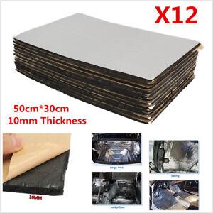 12Pcs 10mm Car Hood Floor Sound Heat Noise Insulation Closed Cell Foam 50cm*30cm