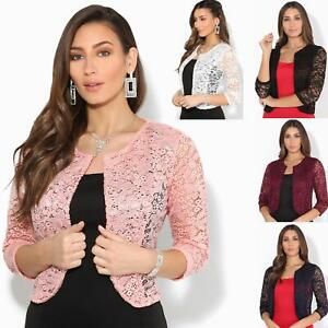 Women Ladies Lace Shrug Crop Bolero Top Evening Open Wrap Jacket Party Wedding