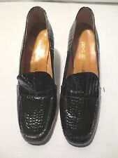 Vtg 60's Mod Winsome Shoes Patent Leather Alligator Loafers Size 8 1/2 B New