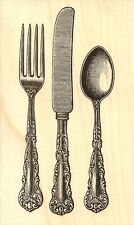 CUTLERY KNIFE FORK SPOON Wood Mounted Rubber Stamp IMPRESSION OBSESSION E13585