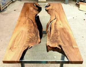 Clear Epoxy Table, Handmade Wooden Live Edge Table Resin Dining River Table 0113