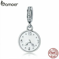 BAMOER Authentic .925 Sterling Silver Charm good time DIY for Bracelet Jewelry