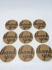 "250 Thank You 2""Sticker Labels Natural Kraft Paper Packaging Seals Wedding Seals"