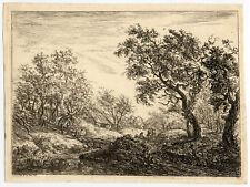 Antique Print-WOODED LANDSCAPE-FARM-von Hagedorn-1745
