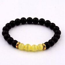 Fashion 8 MM Natural Lava Stone Yellow Cats Eye Bead Charm Man Woman Bracelets