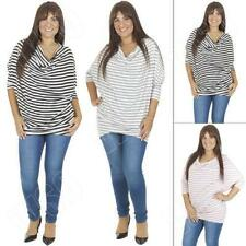 Viscose Batwing, Dolman Sleeve Striped Plus Size Tops & Blouses for Women