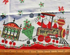 "American Vintage c1940-50 Cotton Christmas Santa Train Fabric~L-27""X W-21"""