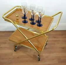 2 Tier Drinks Trolley Gold Mid Century Vintage Retro 1960s 1970s