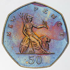 New listing 1974 Great Britain 50 New Pence Proof Monster Neon Blue Unc Color Toned (Dr)