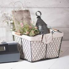 Country new Basket with Liner in smokey Black Tin -Handles