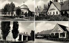 Komádi Ungarn alte s/w Mehrbild Postkarte 1967 gelaufen Kirche Gasthäuser u.a.