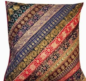 """30"""" RED MULTICOLORED HUGE DÉCOR VINTAGE SARI FLOOR THROW CUSHION PILLOW COVER"""
