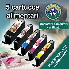 KIT 5 CARTUCCE PER STAMPANTE ALIMENTARE CANON MG5750 MG6850 PGI570/CLI571