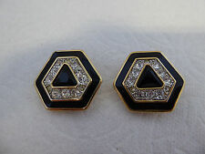 Swarovski SAL Black Enamel Rhinestone Clip on Earrings
