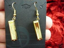 (M-329-J) little Hohner HARMONICA dangle Earrings pair JEWELRY 24k gold plated