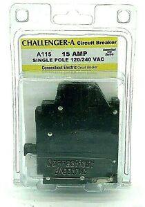Challenger A115 Left Clip 15A 1 Pole 120VAC Plug On Connecticut Electric Breaker