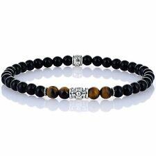 Men Tiger's Eye Onyx  6mm Stretchy Bracelete Beaded Black Fashion Wristband