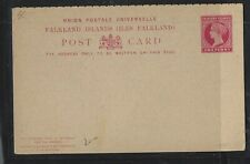 FALKLAND ISLANDS COVER (P1912B) QV 1D REPLY PSC UNUSED
