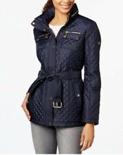NWT Michael Kors Womens Hooded Quilted Puffer Coat SMALL Navy Blue $200