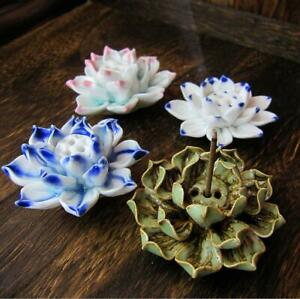 Handmade Artistic Ceramic Lotus Incense Buddhist Burner Zen ornament Supplies