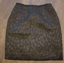 "h&m Black Mini Skirt uk 8 26"" waist leopard sparkle animal print"