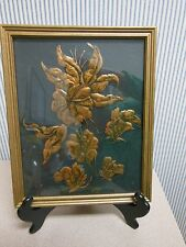 "VINTAGE Copper Floral Wood Framed 10 x 12"" Picture"