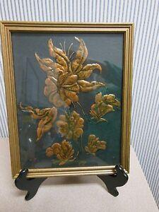 """VINTAGE Copper Floral Wood Framed 10 x 12"""" Picture"""