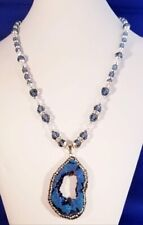 """*PACIFIC BLUES* DEEP BLUE DRUZY WITH DENIM AND CLEAR CRYSTALS 20"""" NECKLACE"""