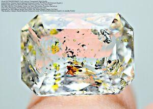 6.50 CT Ultra Rarest Florescent inside PETROLEUM Diamond Quartz Cut Gemstone@PAK