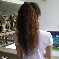 Long Tie on Wavy Clip in Hairpiece Kinky Curly Ponytail Synthetic Hair Extension