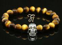 Tigerauge braun 8mm Armband Perlenarmband silberfarbener Totenkopf Skull