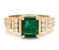 2.80Ct Natural Emerald & Diamond 14K Solid Yellow Gold Ring