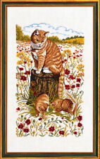 "Cat and Kittens Cross Stitch Kit - Eva Rosenstand 14-181 - 11 3/4"" x 19 5/8"""