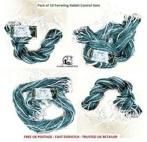 Pack of 10 Nylon Purse Ferret Nets for Rabbiting. Bisley, strong and robust.