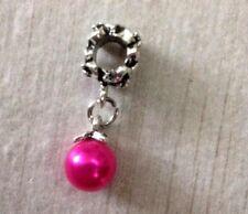 Deep Pink Faux Pearl Tibetan Silver Tone Drop Charm for Bracelet - UK Seller