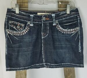Laguns Beach jeans women 27 blue jeans skirt distressed embellishments