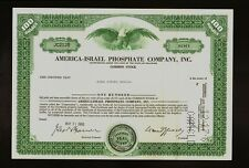 MINING : America Israel Phosphate Company Inc old stock certificate dd 1960s