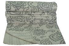 Indian Twin Kantha Quilt Reversible Bedspread Bedding Throw Floral Print Blanket