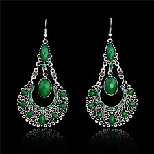 NEW Stylish Vintage Green Gem Jade Drop/Dangle Earrings Chandelier Charm