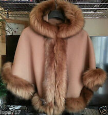 CAMEL KIDS GIRLS FLUFFY FAUX FUR HOODED WINTER CAPE COAT PONCHO SZ L 8-10 YEARS