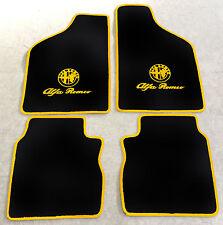 Autoteppich Fußmatten für Alfa Romeo 33  schwarz gelb Logo u. Schrift Neuware