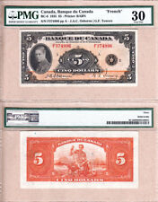 1935 $5 Bank of Canada Prince of Wales, French Variety. PMG Choice VF30  BC-6