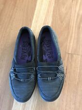 Ladies Black & Grey Flat Non Leather Shoes By Rivers - Size 37 - Aus 7