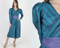 Vintage 80s Teal Silk Striped Dress Plunging Wrap Puff Sleeve Skirt Belted Maxi