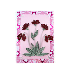 SALE Card- Paper Quilled Pink Flowers-Blank Card-Paper Quilling Thinking of You