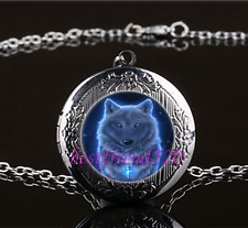 Night GHOST WOLF Photo Cabochon Glass Gun Black Locket Pendant Necklace