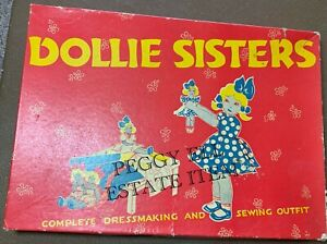 """RARE!  ONTEX MADE IN CANADA """"DOLLIE SISTERS"""" PAPER DOLL w/REAL CLOTH DRESSES"""